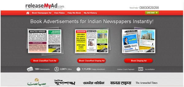 releaseMyad-India's largest online newspaper classiifed ad booking agency